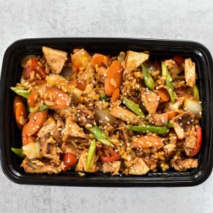 VEGAN Teriyaki Tofu with Vegetable Fried Rice