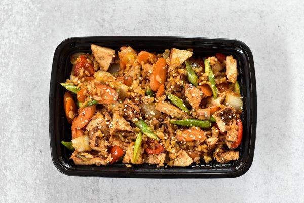 VEGAN Teriyaki Tofu with Vegetable Fried Rice